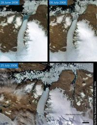 Satellite images show continued breakup of 2 of Greenland's largest glaciers