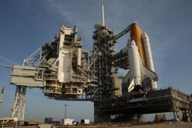 Space Shuttle Discovery Arrives at Launch Pad, Countdown Test Set