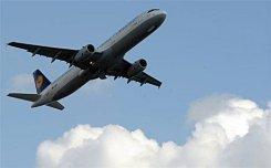 A Lufthansa plane takes off
