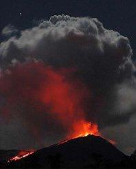 The Reventador Volcano erupting