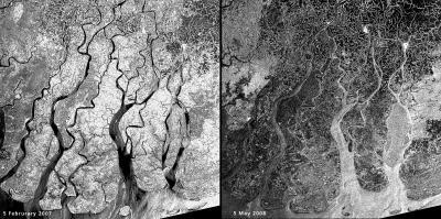Cyclone Nargis and Myanmar floods seen from space