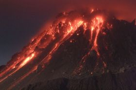 Lava pours out of Montserrat