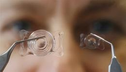 An employee of the S & V Technologies company shows adherent lenses for a horse (left) and a dog
