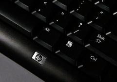 The keyboard of a Hewlett-Packard desktop computer