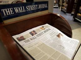 The Wall Street Journal is shown on sale at Hudson News