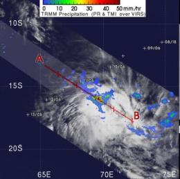 TRMM Satellite sees Cyclone Cleo coming to a close
