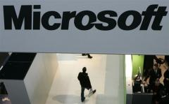 Microsoft logo is seen at a trade fair