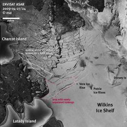 Satellite imagery shows fragile Wilkins Ice Shelf destabilised
