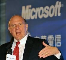 Steve Ballmer, CEO of the US Microsoft Corporation, pictured during a press conference in Taipei