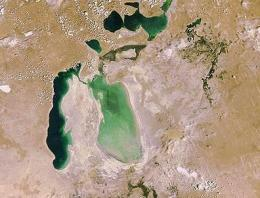 Satellite image shows the dramatic retreat of the Aral Sea?s shoreline