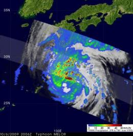 NASA's TRMM satellite captures Typhoon Melor as it reaches Japan