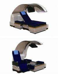 A bed-shaped robot which can transform from a bed (top) to a wheel chair (bottom)