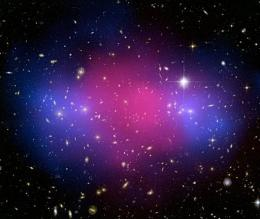 A clear separation between dark and ordinary matter during a clash 5.7 billion light years from Earth