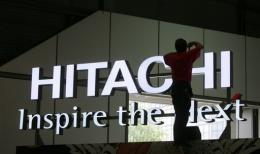 A logo of Japanese electronics giant Hitachi