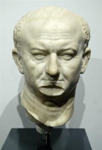A marble bust of Roman Emperor Vespasian
