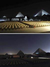 Antarctica to Pyramids _ lights dim for Earth Hour (AP)