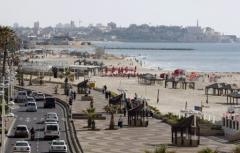 A picture shows Tel Aviv's sea front promenade on the Israeli Mediterranean coastline