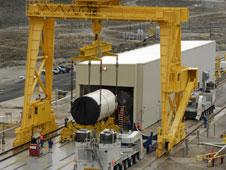 Ares I Five Segment Development Motor on the Move