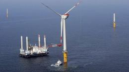 A view of an offshore wind power farm in Germany