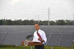 Barack Obama speaks after touring the DeSoto Next Generation Solar Energy Center
