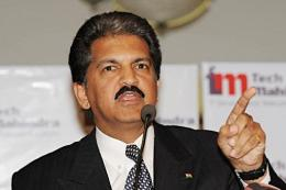 Chairman of Tech Mahindra, Anand Mahindra speaks at a press conference in Mumbai