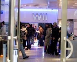 Customers wait inside the Nintendo World Store in Rockefeller Center in New York City.