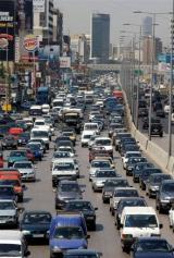 Daily traffic clogs the Jal el-Dib highway at the northern entrance to the Lebanese capital Beirut