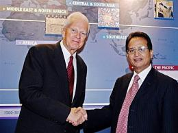 Dr. Abdul Waheed Khan (R) shakes hands with Dr. James H. Billington