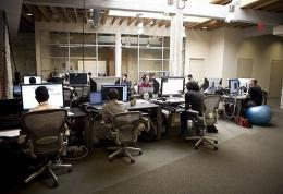 Employees at work in the Facebook headquarters