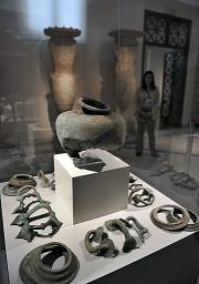 Fragments of antiques are displayed at the Athens archeological museum after being returned to Greece