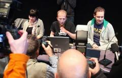 Gottfrid Svartholm Varg(C) and Peter Sundin(R) from The Pirate Bay