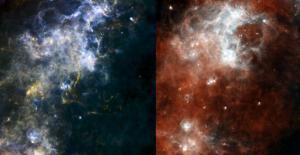 Herschel views deep-space pearls on a cosmic string