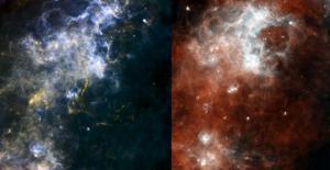 Herschel views deep-space pearls on a cosmic string