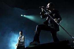 Lead signer Bono (R) and Guitarist The Edge (L) of U2