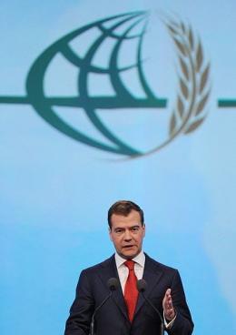Russian President Dmitry Medvedev speaks during the World Grain Forum