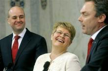 Swedish Prime Minister Fredrik Reinfeldt (L) and fellow coalition members Maud Olofsson (C) and Jan Bjorklund (R)