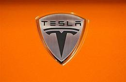 Tesla Motors logo  is seen on the hood of a Tesla Roadster