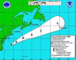 The five day track forecast cone for Tropical Depression ONE