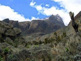 The Rwenzori mountain range in western Uganda