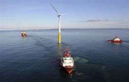 The turbine which measures 65 metres tall and weighs 5,300 tonnes lies some 10 kilometres off the island of Karmoey