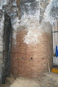 This picture released by the CNRS/Universite de Provence shows a column of Emperor Nero banquet hall