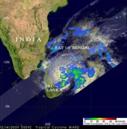 TRMM sees 05B winding down off the Sri Lanka coast