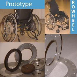 Rowheel wheelchair is pulled to move forward