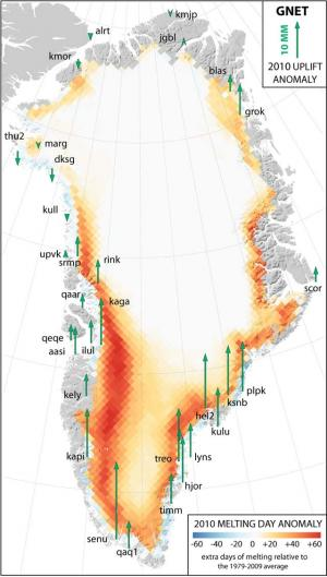 2010 spike in Greenland ice loss lifted bedrock, GPS reveals