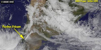 3 satellites see eruption of Puyehue-Cordón volcano from space