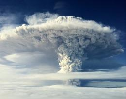 A cloud of ash billowing from the Puyehue volcano near Osorno in southern Chile