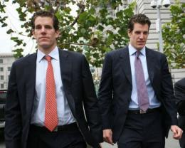 Cameron (L) and Tyler (R) Winklevoss, founders of social networking website ConnectU