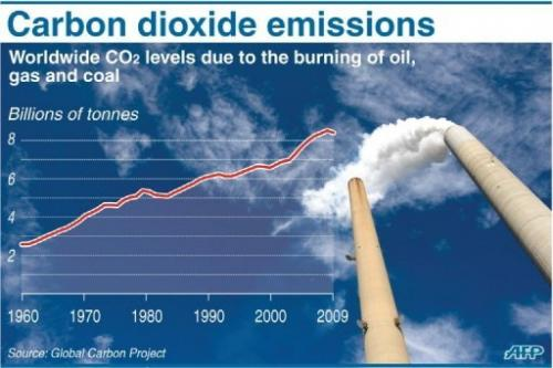 Chart showing worldwide carbon dioxide levels attributed to the burning of fossil fuels