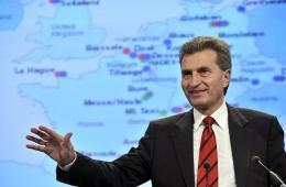EU energy commissioner Guenther Oettinger gives a press conference in 2010