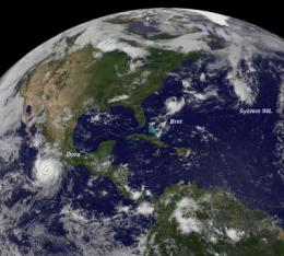 GOES satellite sees a triple header in the tropics